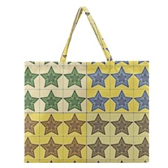 Pattern With A Stars Zipper Large Tote Bag