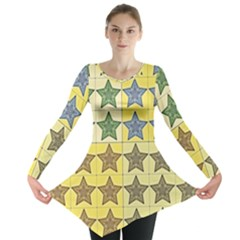 Pattern With A Stars Long Sleeve Tunic