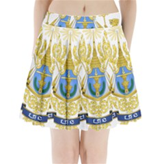 Royal Arms Of Cambodia Pleated Mini Skirt