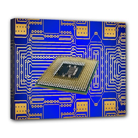Processor Cpu Board Circuits Deluxe Canvas 24  X 20   by Nexatart