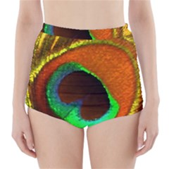 Peacock Feather Eye High-waisted Bikini Bottoms by Nexatart