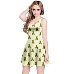 Leaf Pattern Green Wallpaper Tea Reversible Sleeveless Dress by Nexatart