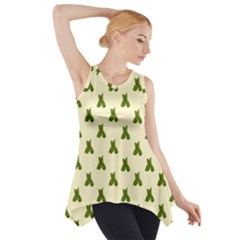 Leaf Pattern Green Wallpaper Tea Side Drop Tank Tunic by Nexatart