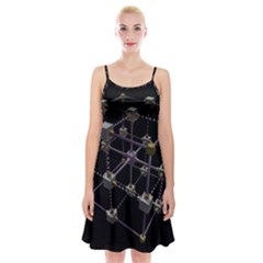 Grid Construction Structure Metal Spaghetti Strap Velvet Dress