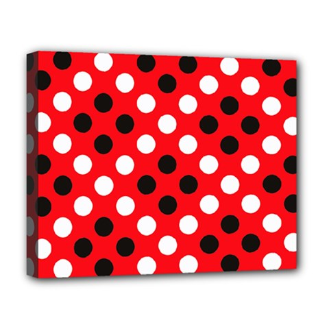 Red & Black Polka Dot Pattern Deluxe Canvas 20  X 16   by Nexatart