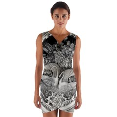 Swans Floral Pattern Vintage Wrap Front Bodycon Dress by Nexatart