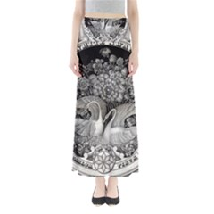 Swans Floral Pattern Vintage Maxi Skirts