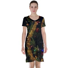 Night Xmas Decorations Lights  Short Sleeve Nightdress