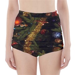 Night Xmas Decorations Lights  High Waisted Bikini Bottoms