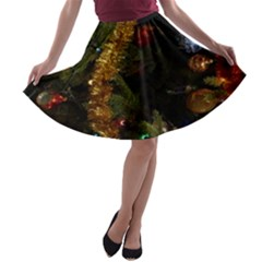 Night Xmas Decorations Lights  A Line Skater Skirt