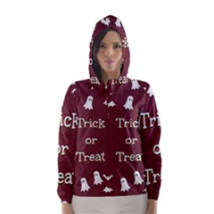 Halloween Free Card Trick Or Treat Hooded Wind Breaker (women)
