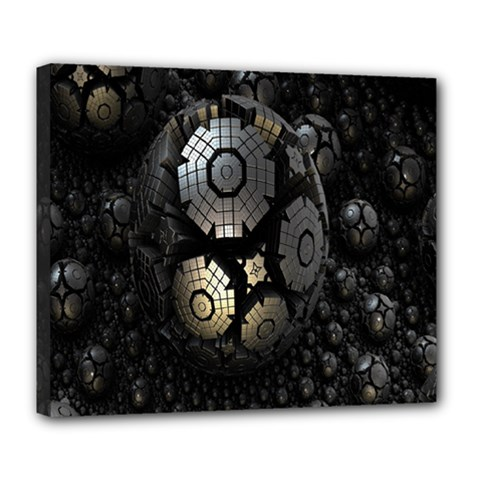 Fractal Sphere Steel 3d Structures Deluxe Canvas 24  X 20   by Nexatart