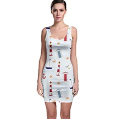 Seaside Beach Summer Wallpaper Sleeveless Bodycon Dress