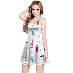 Seaside Beach Summer Wallpaper Reversible Sleeveless Dress