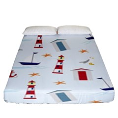 Seaside Beach Summer Wallpaper Fitted Sheet (king Size)