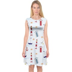 Seaside Beach Summer Wallpaper Capsleeve Midi Dress