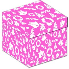 Pink Christmas Background Storage Stool 12
