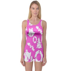 Pink Christmas Background One Piece Boyleg Swimsuit