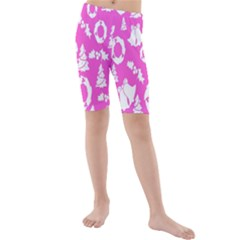 Pink Christmas Background Kids  Mid Length Swim Shorts
