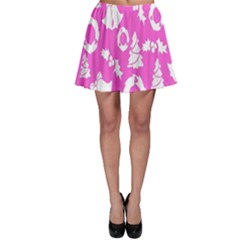 Pink Christmas Background Skater Skirt