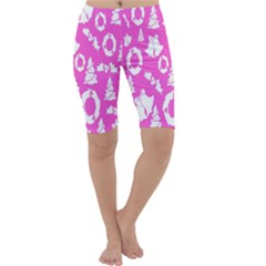 Pink Christmas Background Cropped Leggings