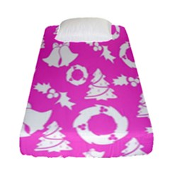 Pink Christmas Background Fitted Sheet (single Size)