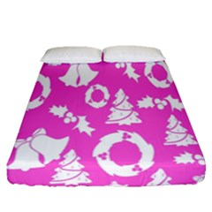 Pink Christmas Background Fitted Sheet (queen Size)