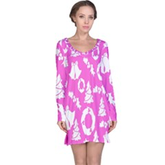 Pink Christmas Background Long Sleeve Nightdress