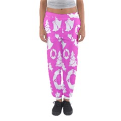 Pink Christmas Background Women s Jogger Sweatpants