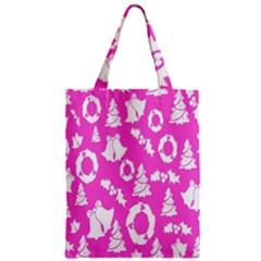 Pink Christmas Background Zipper Classic Tote Bag