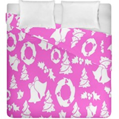 Pink Christmas Background Duvet Cover Double Side (king Size) by Nexatart