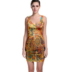 Ethnic Pattern Sleeveless Bodycon Dress