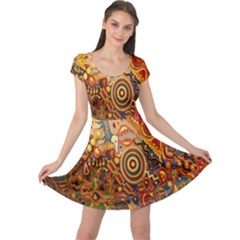 Ethnic Pattern Cap Sleeve Dresses