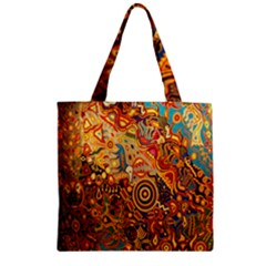 Ethnic Pattern Zipper Grocery Tote Bag