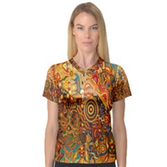 Ethnic Pattern Women s V Neck Sport Mesh Tee