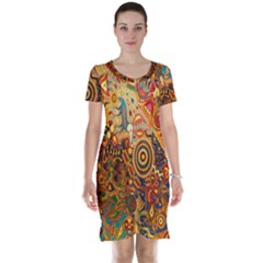 Ethnic Pattern Short Sleeve Nightdress