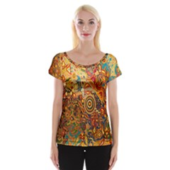 Ethnic Pattern Women s Cap Sleeve Top