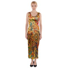 Ethnic Pattern Fitted Maxi Dress