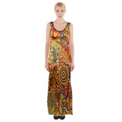 Ethnic Pattern Maxi Thigh Split Dress