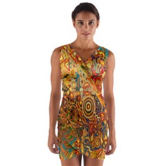 Ethnic Pattern Wrap Front Bodycon Dress