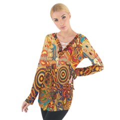 Ethnic Pattern Women s Tie Up Tee