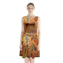Ethnic Pattern Sleeveless Chiffon Waist Tie Dress