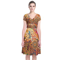Ethnic Pattern Short Sleeve Front Wrap Dress
