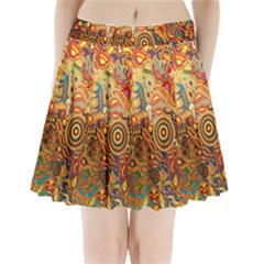 Ethnic Pattern Pleated Mini Skirt