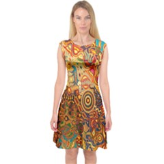Ethnic Pattern Capsleeve Midi Dress