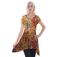 Ethnic Pattern Short Sleeve Side Drop Tunic