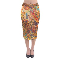 Ethnic Pattern Velvet Midi Pencil Skirt