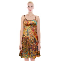 Ethnic Pattern Spaghetti Strap Velvet Dress