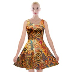 Ethnic Pattern Velvet Skater Dress