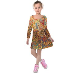 Ethnic Pattern Kids  Long Sleeve Velvet Dress